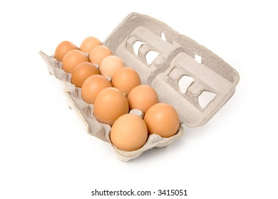 brown eggs in carton with white background