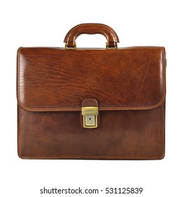 Brown elegant, modern leather briefcase  with Professional Style isolated on white background