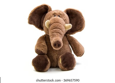 Brown elephant soft toy isolated on white