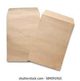 Brown envelope document isolated on white background