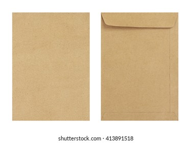 Brown envelope front and back isolate on white background, Clipping path.