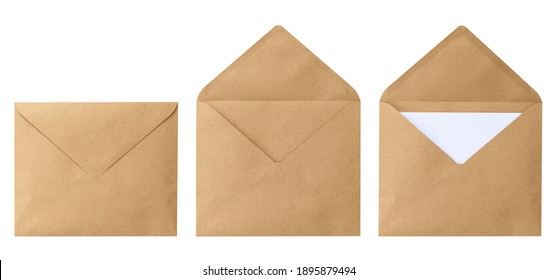 Brown envelope front with card inside isolated on white background. Letter top view. Object with clipping path - Shutterstock ID 1895879494
