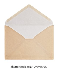 Brown Envelope  on white background, clipping path.