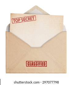 Brown Envelope  on white background with top secret stamp, clipping path.