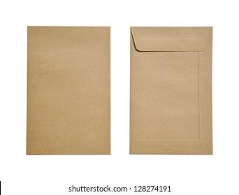 Brown envelopes on white background.