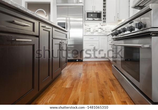 Brown Espresso White Modern Kitchen Cabinets Stock Photo Edit Now 1481065310