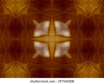 Brown Ethnic pattern. Abstract kaleidoscope fabric design.