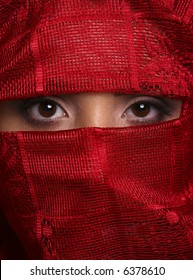brown eyes in red shawl