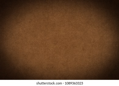 Brown fabric texture for background. Abstract background, empty template. Top view.