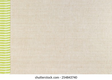 Brown fabric texture with green color for background