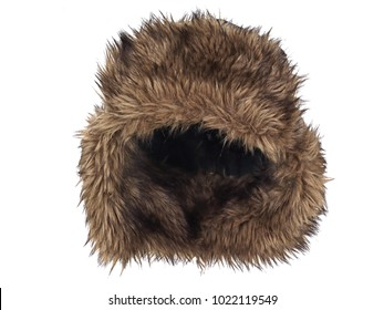Brown fake fur winter hat, photographed on ghost mannequin, isolated on white background. Front view.