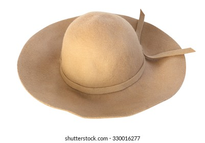 Brown fashion hat isolated on white background.