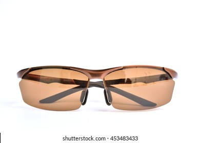 Brown fashion unisex sunglasses isolated over white