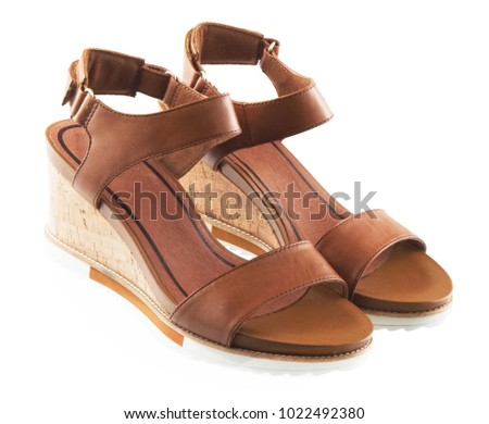 0a6384aa881f9 Brown Female Leather Sandals Isolated On Stock Photo (Edit Now ...