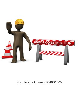 Brown figurine, construction worker, under construction