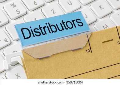 A brown file folder labeled with Distributors