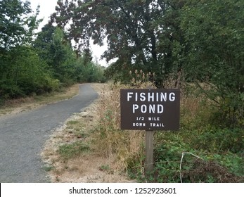 brown fishing pond one half mile down trail sign