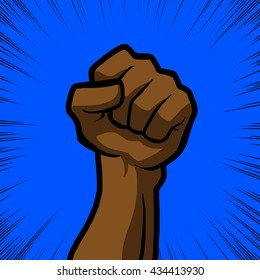 brown fist with blue background