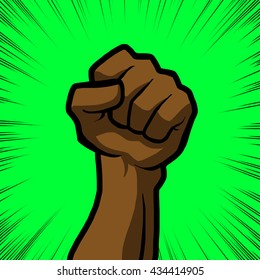 brown fist with green background
