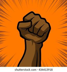 brown fist with orange background