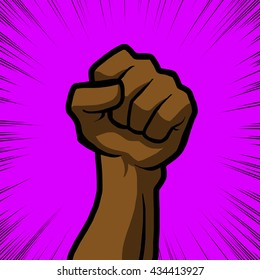brown fist with purple background