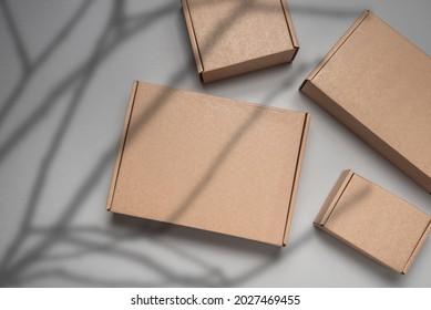 Brown flat cardboard carton box decorated with tree branch shado