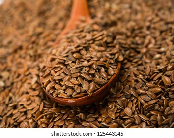 brown flax seed close up