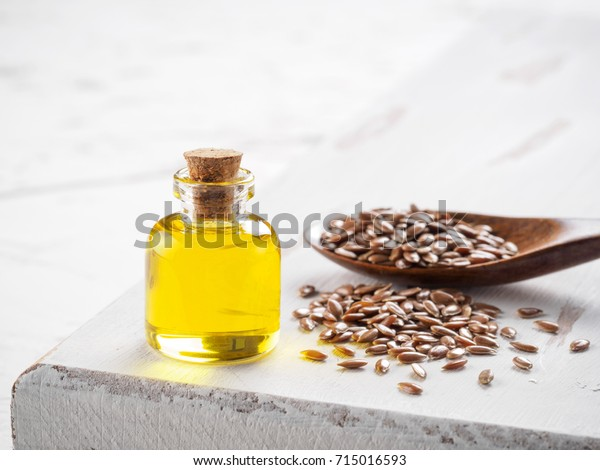 Brown Flax Seeds Spoon Flaxseed Oil Stock Photo Edit Now 715016593