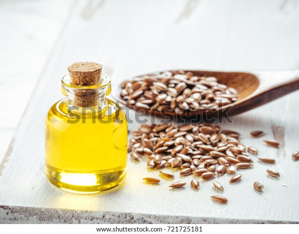 Brown Flax Seeds Spoon Flaxseed Oil Stock Photo Edit Now 721725181