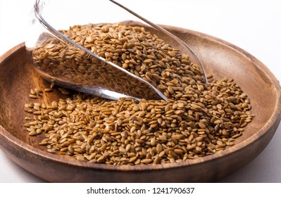 Brown flaxseed, organic food.