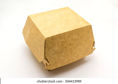 A brown food box, packaging for hamburger, lunch, fast food, burger and sandwich, isolated on white background with clipping path.