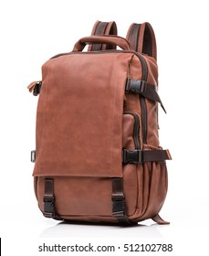 brown foxy  leather unisex casual backpack isolated on white background