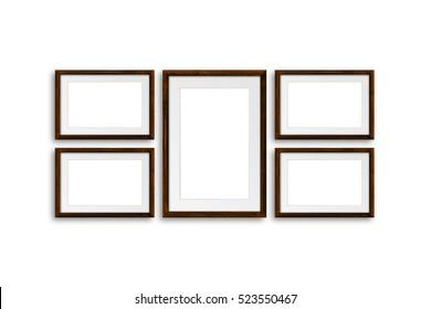 Brown frames, made of natural wood material, decor mock up