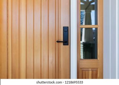 Brown front door, close up