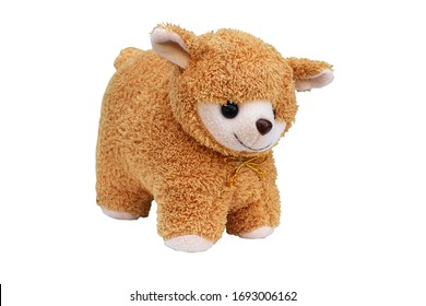brown furry alpaca doll on a white background,isolate