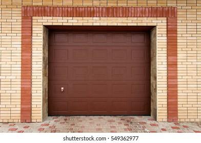 Brown garage doors.