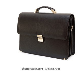 Brown genuine leather men's handbag isolated on white background, closeup. Fashion and shopping concept