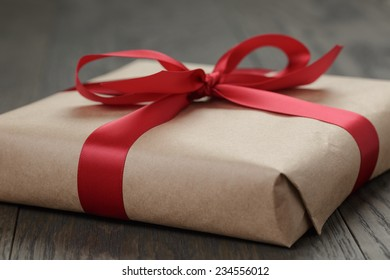 brown gift box for christmas, close up photo