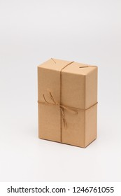 Brown gift box on white background