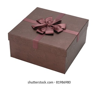 brown gift box with ribbon from top corner view
