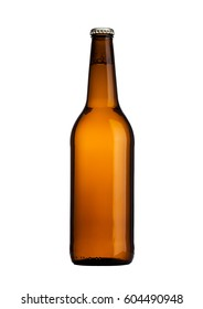 Brown glass beer bottle with yellow cap isolated on white
