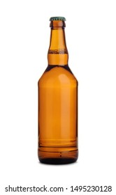 Brown glass bottle of beer with metallic cap isolated on white background.
