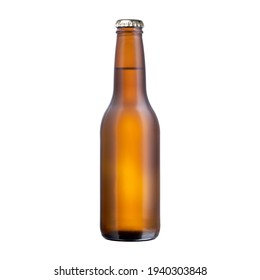 Brown glass bottle full of beer with cap isolated on white background, front view bottled product with no label cutout