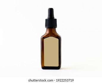 A brown glass container with a dispenser on a white background.