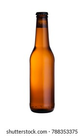 Brown glass lager beer bottle with black cap isolated on white background