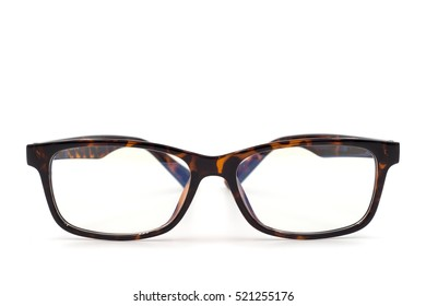 Brown glasses on white background