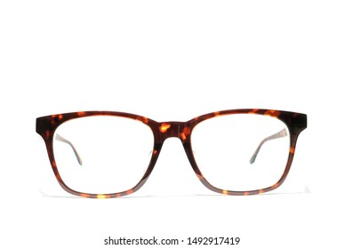 Brown glasses uv protection sunglasses  for short or long on white background ,Concept