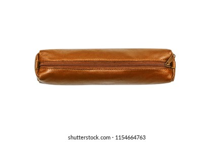 Brown, gold leather case for pencil, pen with zipper. Isolated on white.