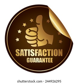 Brown and Gold Metallic Satisfaction Guarantee Sticker, Icon or Label Isolated on White Background
