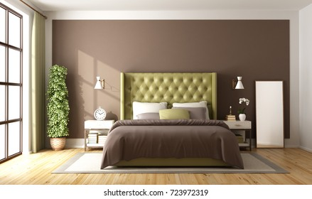 Brown and green master bedroom with elegant double bed - 3d rendering